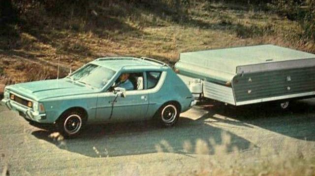1971 AMC Gremlin in light duty towing, February 1971 American Motors press photo
