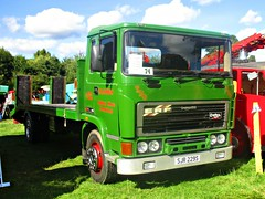 robertknight16 posted a photo:	ERF M Series Recovery Truck (1978) Engine Gardner 180Livery T R Owen, Halfway House, ShropshireOwner  T Owen ShrewesburyRegistration Number SJR 229 S (NewcastleERF ALBUMwww.flickr.com/photos/45676495@N05/albums/72157623665035629The M-series was introduced in 1974 as a lighter rigid Its cab was based on the B-series and was later replaced by the Steyr cab and later still by the Turkish BMC cab.This truck was run by L + K R Thorpe as a curtain sider for almost 20 years Thankyou for a massive 54,531,272  views Shot 29.08.2016 at the Shrewesbury Steam Fair  REF 121-024