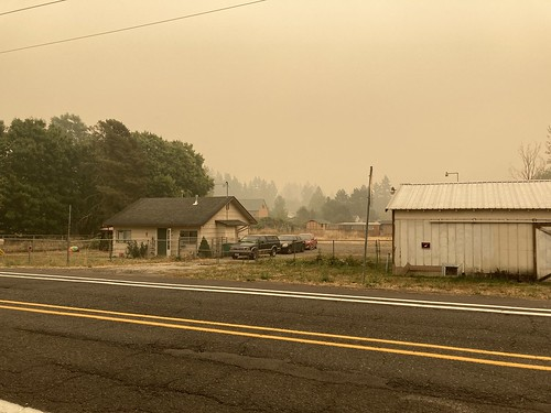 Powell Butte is hidden by smoke