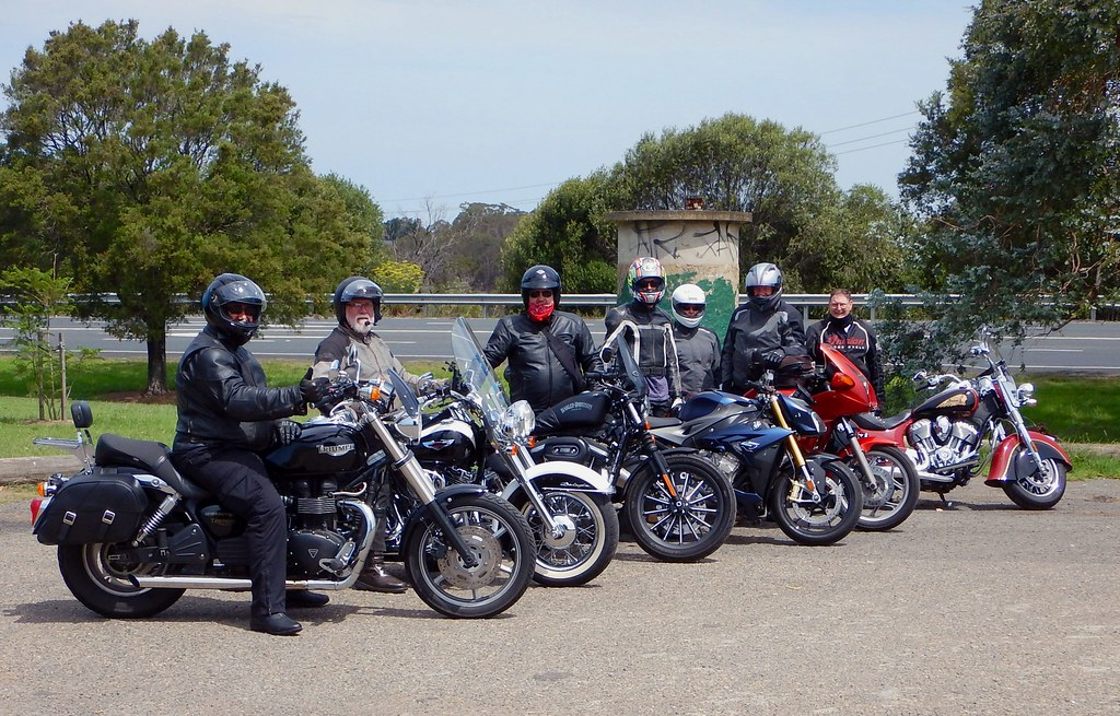Motorcycle group at Razorback lookout