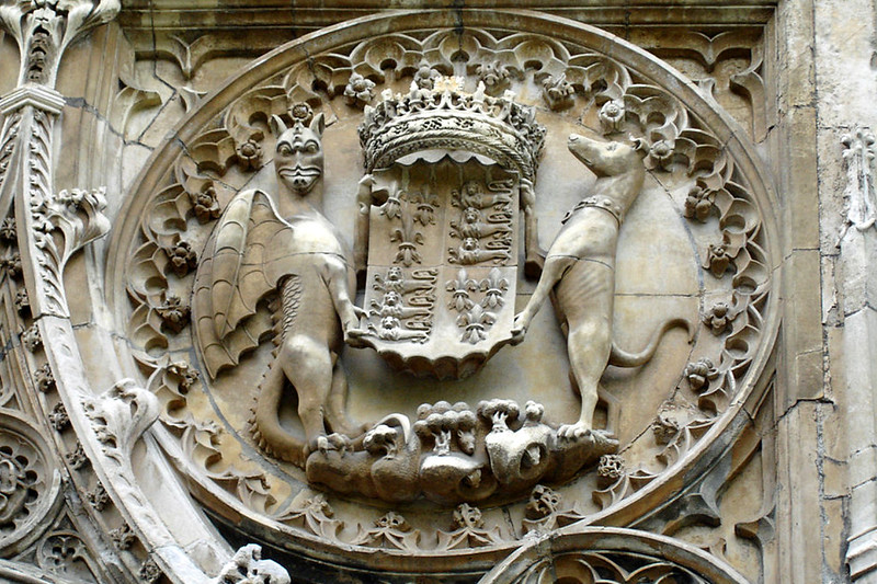 Carving over south door, King's College Chapel, 1515