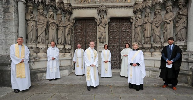 Clergy and the Diocesan Registrar, John Jerymn, following the service of ordination at St Fin Barre's Cathedral, Cork.