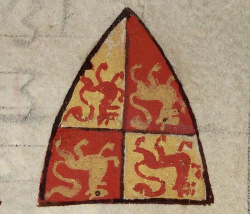 MS 016II: Matthew Paris OSB, Chronica maiora II, the coat of arms of Gruffydd ap Llywelyn ap Iorwerth, f. 170r