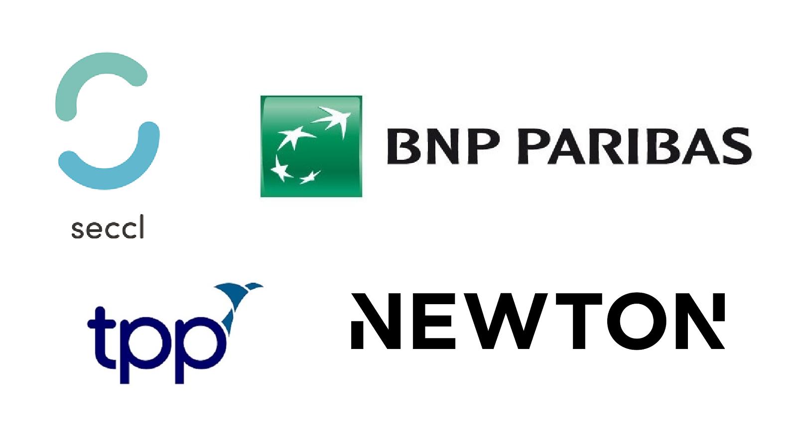 Logos of seccl, BNP Paribas, TPP and Newton