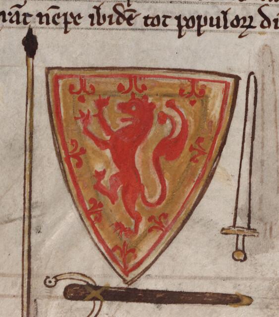 Shield of Scotland with sword, Cambridge. Corpus Christi College, Parker Library MS 16II, f 257r