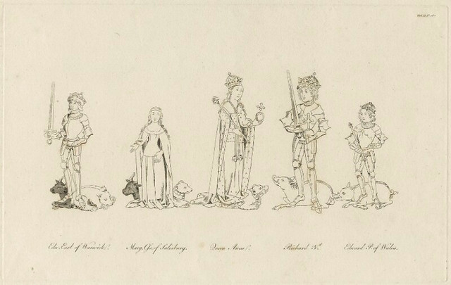 Richard the third King of England, Anne Neville Queen of England, Edward Prince of Wales, Margaret Countess of Salisbury and Edward 17th earl of Warwick