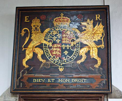 Queen Elizabeth I's coat of arms in St Thomas's Church, Salisbury