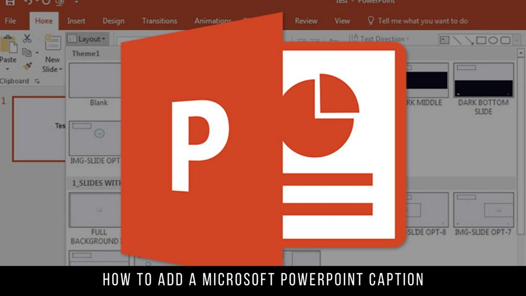 How to add a Microsoft PowerPoint caption