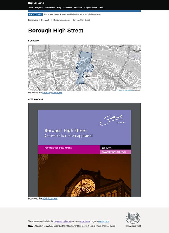 screenshot of the conservation-area page for Borough Market