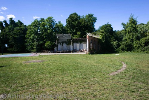 The old turntable (foreground) and roundhouse from the Sodus-Wallington Line, New York