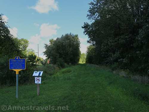The trailhead at the junction of Geneva Road and Old Ridge Road, Sodus-Wallington Trail, New York