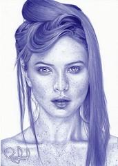 Portrait Pen Drawing Scarlett Johansson