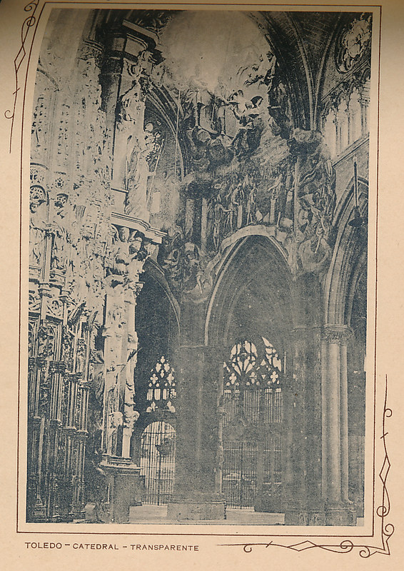 Transparente de la catedral. Incluida en un raro álbum con 24 fotografías de Toledo hacia 1907. Colección personal de Eduardo Sánchez Butragueño.