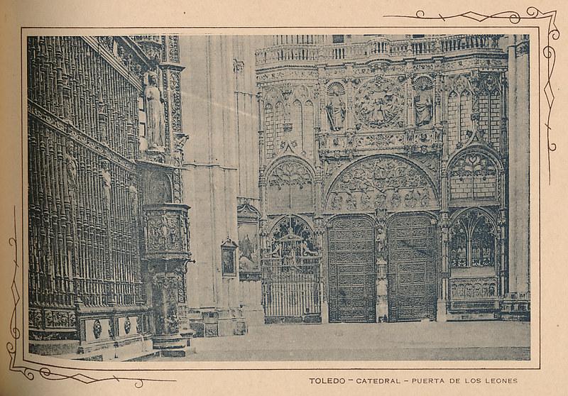 Interior de la catedral, órgano del Emperador. Incluida en un raro álbum con 24 fotografías de Toledo hacia 1907. Colección personal de Eduardo Sánchez Butragueño.