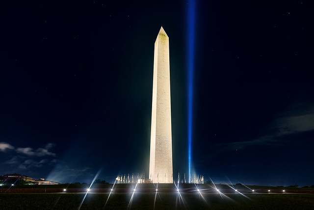 Pentagon 9-11 Towers of Light Tribute with the Washington Monument