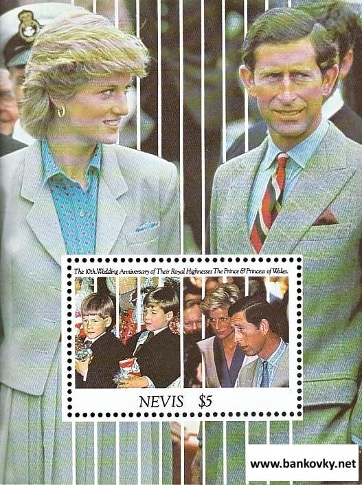 Známky Nevis 1991 Charles a Diana hárček