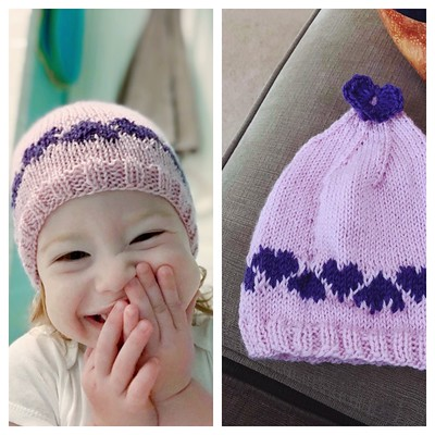 Dianne (DianneJL) knit this sweet Love & Hearts Hat by Susan B. Anderson for her adorable granddaughter! Yarn is Bergere de France Ideal.
