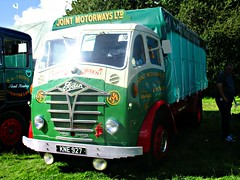robertknight16 posted a photo:	 Foden S18 Flatbed (1955) Engine GardnerLivery Joint Motorways Ltd., Port TalbotOwner G Ashley, ShrewesburyRegistration Number KNE 927 (Manchester)FODEN SETwww.flickr.com/photos/45676495@N05/sets/72157623789275606...Thankyou for a massive 54,550,695  views Shot 29.08.2016 at the Shrewesbury Steam Fair  REF 121-026