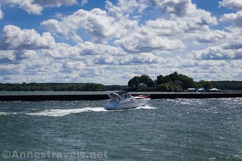A boat enters Sodus Bay, New York