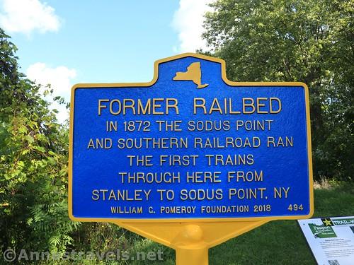 Historic Landmark sign at the southern trailhead of the Sodus-Wallington Trail, New York
