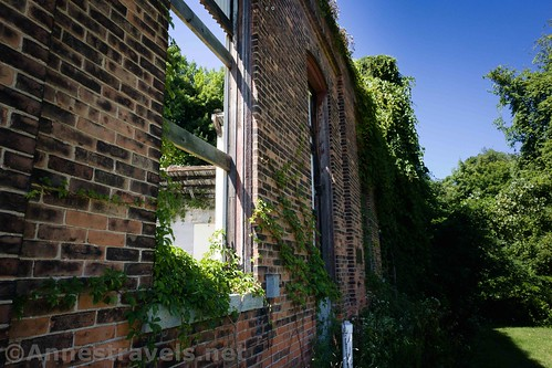 Old windows and the brick wall of the roundhouse, Sodus Point, New York