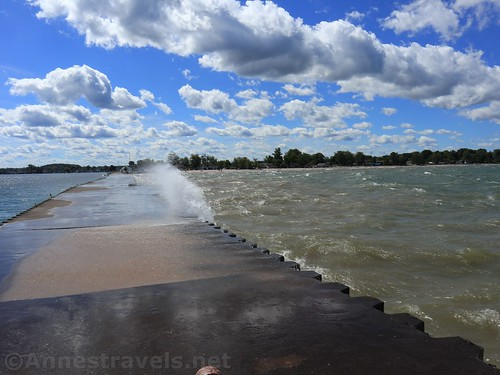 Looking back down the pier toward Sodus Point, New York
