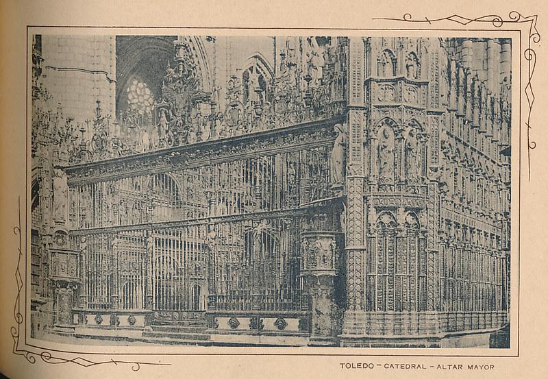 Altar mayor de la catedral. Incluida en un raro álbum con 24 fotografías de Toledo hacia 1907. Colección personal de Eduardo Sánchez Butragueño.