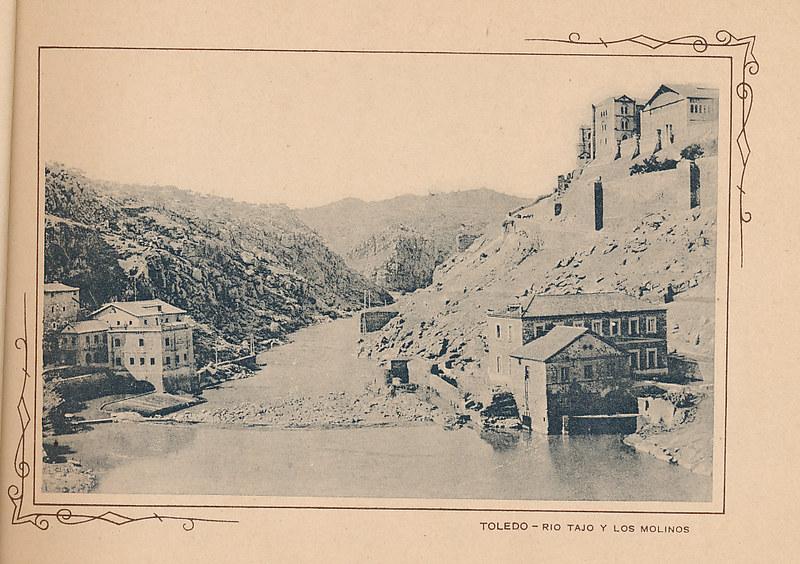 Turbinas de Vargas y Molinos de san Servando sobre el río Tajo. Incluida en un raro álbum con 24 fotografías de Toledo hacia 1907. Colección personal de Eduardo Sánchez Butragueño.