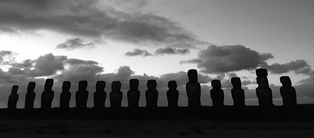 The Sunrise at the Ahu Toŋariki, Rapa Nui (Easter Island), the East Coast, Chile, Polynesia, Oceania.