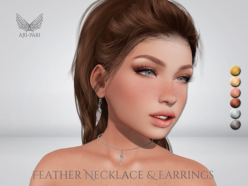 [Ari-Pari] Feather Necklace & Earrings