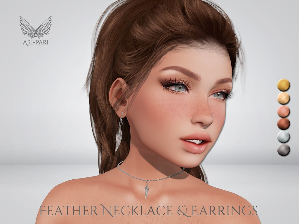 [Ari-Pari] Feather Necklace & Earrings