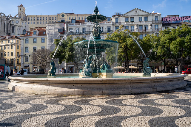 Lisbon, Portugal - January 17, 2020: Fountain of the Praça do Rossio square in the center plaza of Lisbon, Portugal