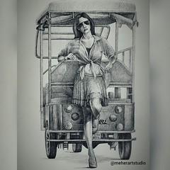 Creative Pen Drawing Lady