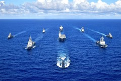 Ships of the Royal Australian Navy, Republic of Korea Navy, Japan Maritime Self-Defense Force, and U.S. Navy sail in formation, Sept. 11, to kick off exercise Pacific Vanguard. (JMSDF photo)