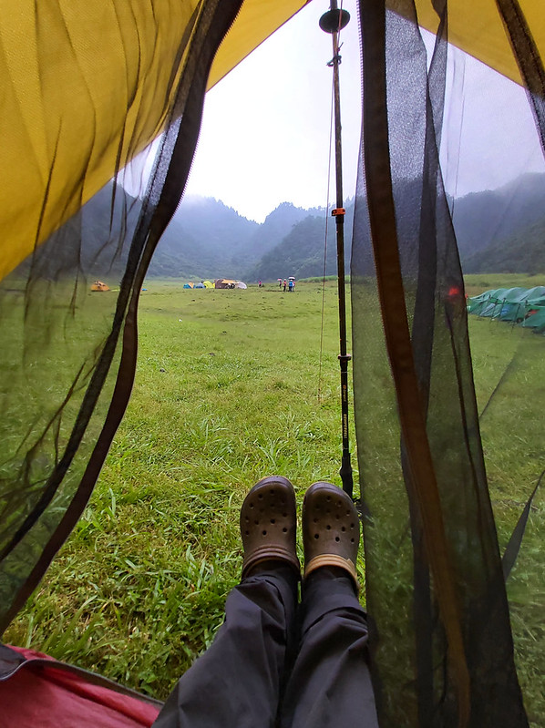 Songluo Lake: took a rest at my mesh tent and enjoyed the view