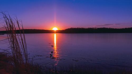 sunset reflctions sun water surreal beautiful kansas