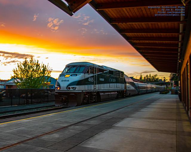 Amtrak Cascades Heading North Under A Skagit Sunset