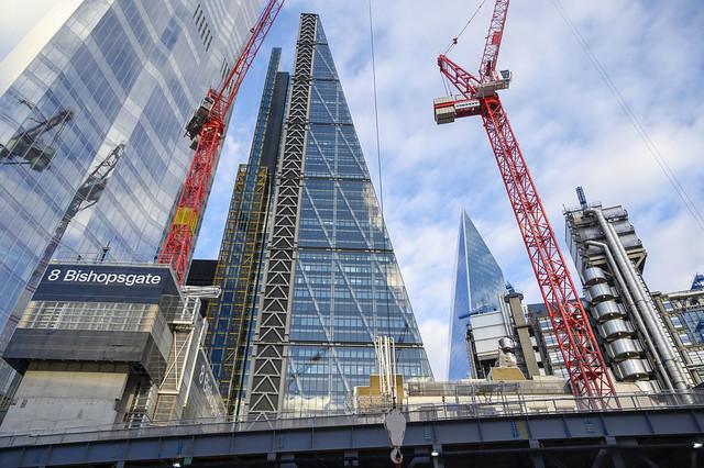 DSC_5500 City of London 8 Bishopsgate Skyscraper Construction and Twenty two new Skyscraper Tower plus Lloyds Insurance Brokers