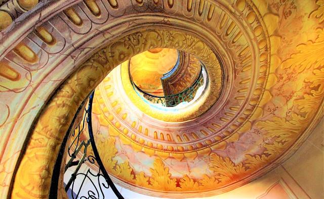 MELK Österreich Autriche Austria : Spiraltreppe der berühmten Abtei, spiral staircase of the famous abbey, escalier en spirale de la célèbre abbaye.