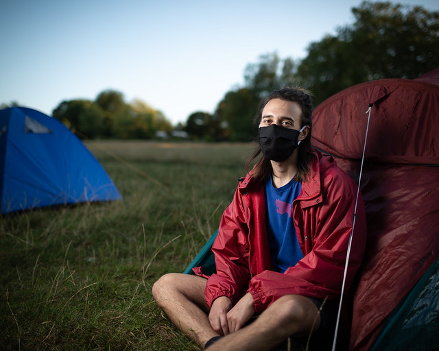 Aidan from Extinction Rebellion Chelmsford at the Brockwell Park Rebel Campsite, London, 31 August 2020