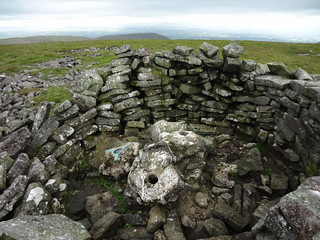 Trig point on Little Fell (Burton Fell), in a shelter, but collapsed