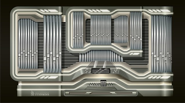 futuristic pipe organ design