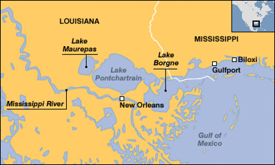 Map of Lake Pontchartrain - Source- http://news.bbc.co.uk/1/hi/sci/tech/4223426.stm