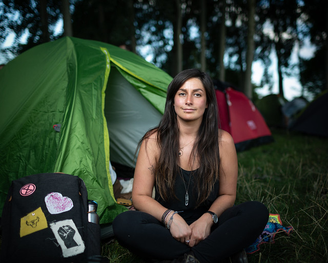 Marina - a full-time volunteer for Animal Rebellion - at the Brockwell Park Rebel Campsite, London, 31 August 2020