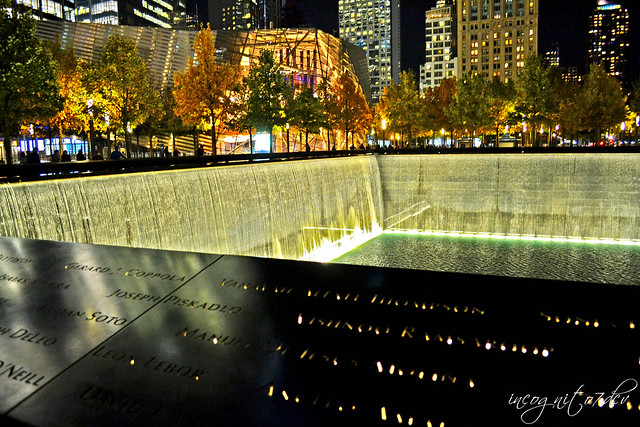 9/11 Memorial North Pool & Museum at Night WTC World Trade Center Lower Manhattan New York City NY P00648 DSC_4323