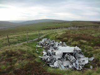wreckage of de Havilland Venom WR557 on Farlam Currick