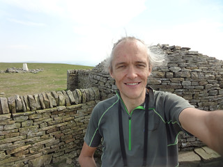 At the summit shelter on Cross Fell, highest point on the English watershed
