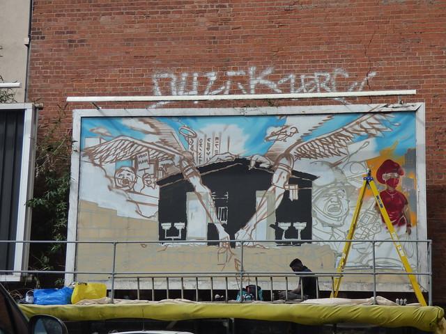 Work in progress street art from Hinckley Street