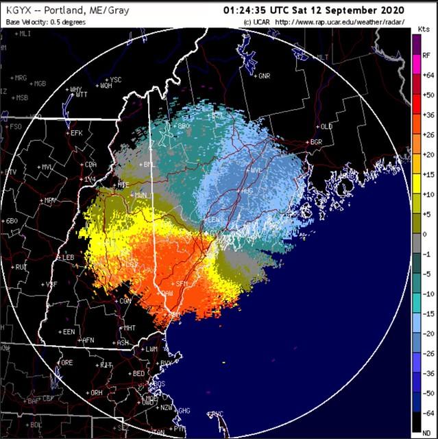 Radar image from night of 09/11-09/12/2020, bird migration. Portland Maine