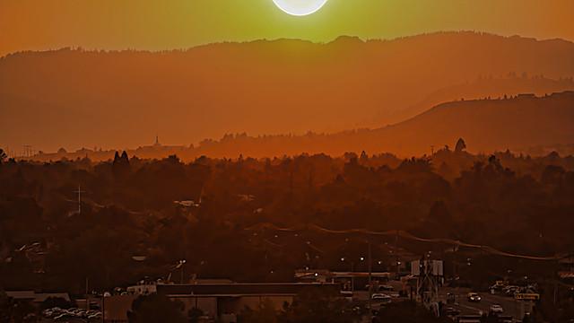 Haze, Smoke, Sunset from the El Dorado Parking Garage